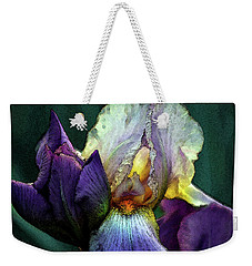 Watercolor Cream And Purple Bearded Iris With Bud 0065 W_2 Weekender Tote Bag