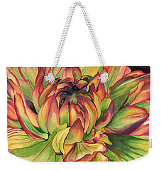 Watercolor Dahlia Weekender Tote Bag