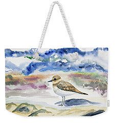 Weekender Tote Bag featuring the painting Watercolor - Double-banded Plover On The Beach by Cascade Colors