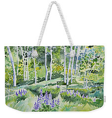 Watercolor - Early Summer Aspen And Lupine Weekender Tote Bag