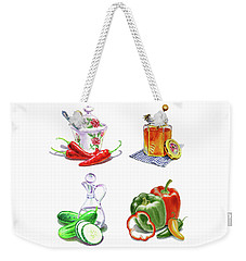 Weekender Tote Bag featuring the painting Watercolor Editorial Food Illustrations The Sweet The Hot The Sour by Irina Sztukowski