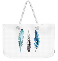 Watercolor Feathers Weekender Tote Bag by Jaime Friedman