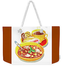 Weekender Tote Bag featuring the painting Watercolor Food Illustration Full Lunch by Irina Sztukowski