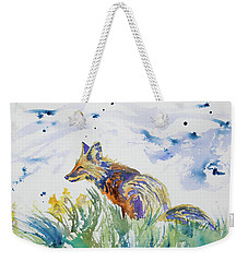 Weekender Tote Bag featuring the painting Watercolor - Fox On The Lookout by Cascade Colors