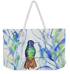 Weekender Tote Bag featuring the painting Watercolor - Golden-tailed Sapphire by Cascade Colors