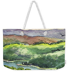 Weekender Tote Bag featuring the painting Watercolor Hills Of California by Irina Sztukowski
