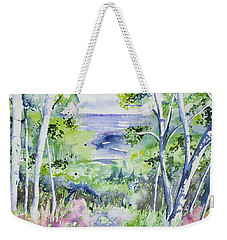 Weekender Tote Bag featuring the painting Watercolor - Lake Superior Impression by Cascade Colors