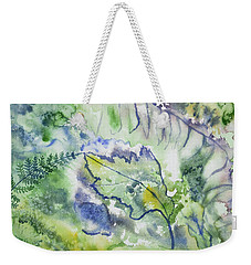 Weekender Tote Bag featuring the painting Watercolor - Leaves And Textures Of Nature by Cascade Colors