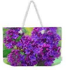Weekender Tote Bag featuring the painting Watercolor Lilac by Ivana Westin