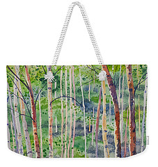 Weekender Tote Bag featuring the painting Watercolor - Magical Aspen Forest After A Spring Rain by Cascade Colors