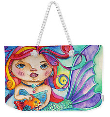 Watercolor Mermaidia Mermaid Painting Weekender Tote Bag