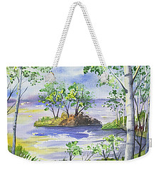 Weekender Tote Bag featuring the painting Watercolor - Minnesota North Shore Landscape by Cascade Colors
