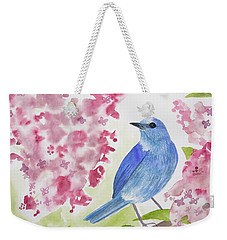 Weekender Tote Bag featuring the painting Watercolor - Mountain Bluebird by Cascade Colors