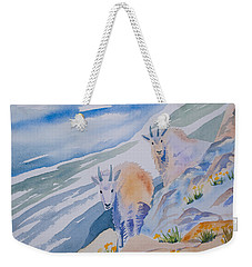 Weekender Tote Bag featuring the painting Watercolor - Mountain Goats On Quandary by Cascade Colors