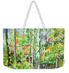Weekender Tote Bag featuring the painting Watercolor - Northern Forest by Cascade Colors