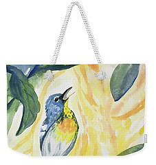 Weekender Tote Bag featuring the painting Watercolor - Northern Parula In Song by Cascade Colors