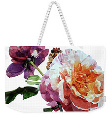 Watercolor Of Two Roses In Pink And Violet On One Stem That  I Dedicate To Jacques Brel Weekender Tote Bag