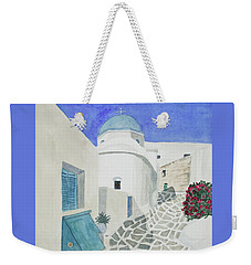 Weekender Tote Bag featuring the painting Watercolor - Paros Church And Street Scene by Cascade Colors