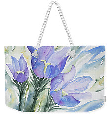 Weekender Tote Bag featuring the painting Watercolor - Pasque Flowers by Cascade Colors