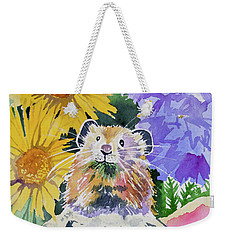 Weekender Tote Bag featuring the painting Watercolor - Pika With Wildflowers by Cascade Colors