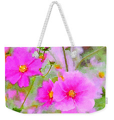 Weekender Tote Bag featuring the painting Watercolor Pink Cosmos by Bonnie Bruno