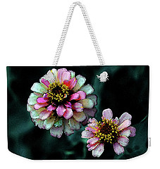 Watercolor Pink Zinnias And Smoke 2227 W_2 Weekender Tote Bag