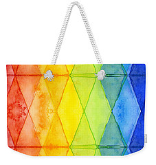 Watercolor Rainbow Pattern Geometric Shapes Triangles Weekender Tote Bag