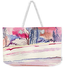 Weekender Tote Bag featuring the painting Watercolor River by Darren Cannell
