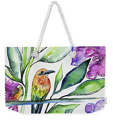 Weekender Tote Bag featuring the painting Watercolor - Rufous Motmot by Cascade Colors