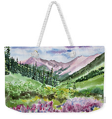 Weekender Tote Bag featuring the painting Watercolor - San Juans Mountain Landscape by Cascade Colors