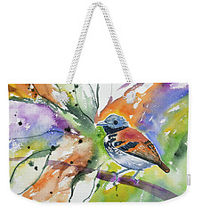 Weekender Tote Bag featuring the painting Watercolor - Spotted Antbird by Cascade Colors