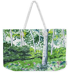 Weekender Tote Bag featuring the painting Watercolor - Spring Forest And Flowers by Cascade Colors