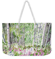 Weekender Tote Bag featuring the painting Watercolor - Summer Aspen Glade by Cascade Colors