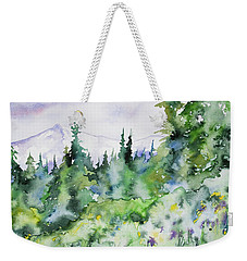 Weekender Tote Bag featuring the painting Watercolor - Summer In The Rockies by Cascade Colors