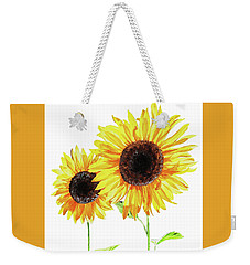 Weekender Tote Bag featuring the painting Watercolor Sunflowers by Irina Sztukowski