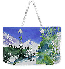 Weekender Tote Bag featuring the painting Watercolor - Sunny Winter Day In The Mountains by Cascade Colors