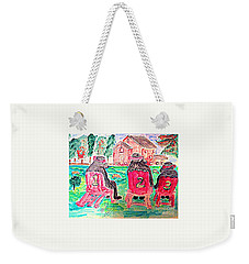 Watercolor Three Bears Visiting A Farm In Tuscany Weekender Tote Bag