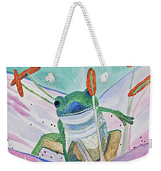 Weekender Tote Bag featuring the painting Watercolor - Tree Frog by Cascade Colors