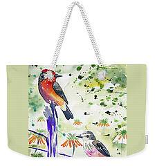 Weekender Tote Bag featuring the painting Watercolor - Vermilion Flycatcher Pair In Quito by Cascade Colors