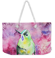 Weekender Tote Bag featuring the painting Watercolor - Violet-tailed Sylph by Cascade Colors