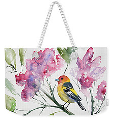 Weekender Tote Bag featuring the painting Watercolor - Western Tanager In A Flowering Tree by Cascade Colors