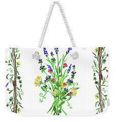 Weekender Tote Bag featuring the painting Watercolor Wild Flowers by Irina Sztukowski