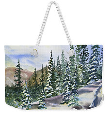 Weekender Tote Bag featuring the painting Watercolor - Winter Snow-covered Landscape by Cascade Colors