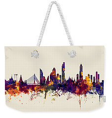 watercolour, watercolor, urban,  Bangkok, Bangkok skyline, bangkok cityscape, city skyline, thailand Weekender Tote Bag by Michael Tompsett