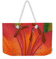 Weekender Tote Bag featuring the photograph Watered Lily by Jean Noren