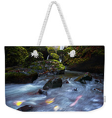 Waterfall And Stream With Fluxing Autumn Leaves Weekender Tote Bag