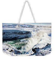Weekender Tote Bag featuring the photograph Waterfall Gullfoss Iceland In Winter by Matthias Hauser