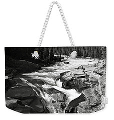 Weekender Tote Bag featuring the photograph Waterfall In Banff National Park Bw by RicardMN Photography