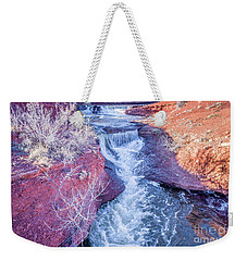 waterfalls at Colorado foothills aerial view Weekender Tote Bag