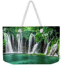 Waterfalls Panorama - Plitvice Lakes National Park Croatia Weekender Tote Bag